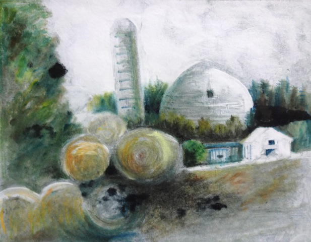 Local Scene, mono ghost with pastel by Joan Dworkin