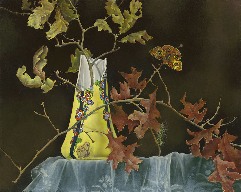 Broken Yellow Vase with Oak Branches by Judith Lamb