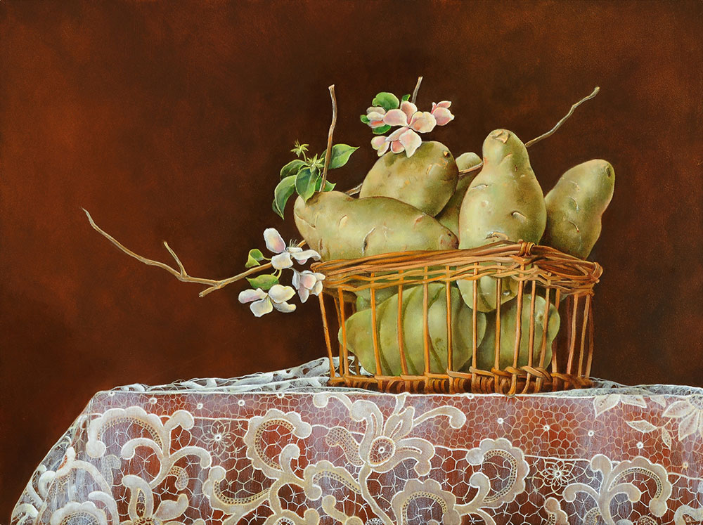 Potatoes in Basket on Lace by Judith Lamb