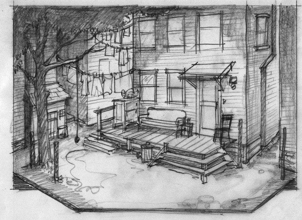 Fences, sketch by Marjorie Bradley Kellogg